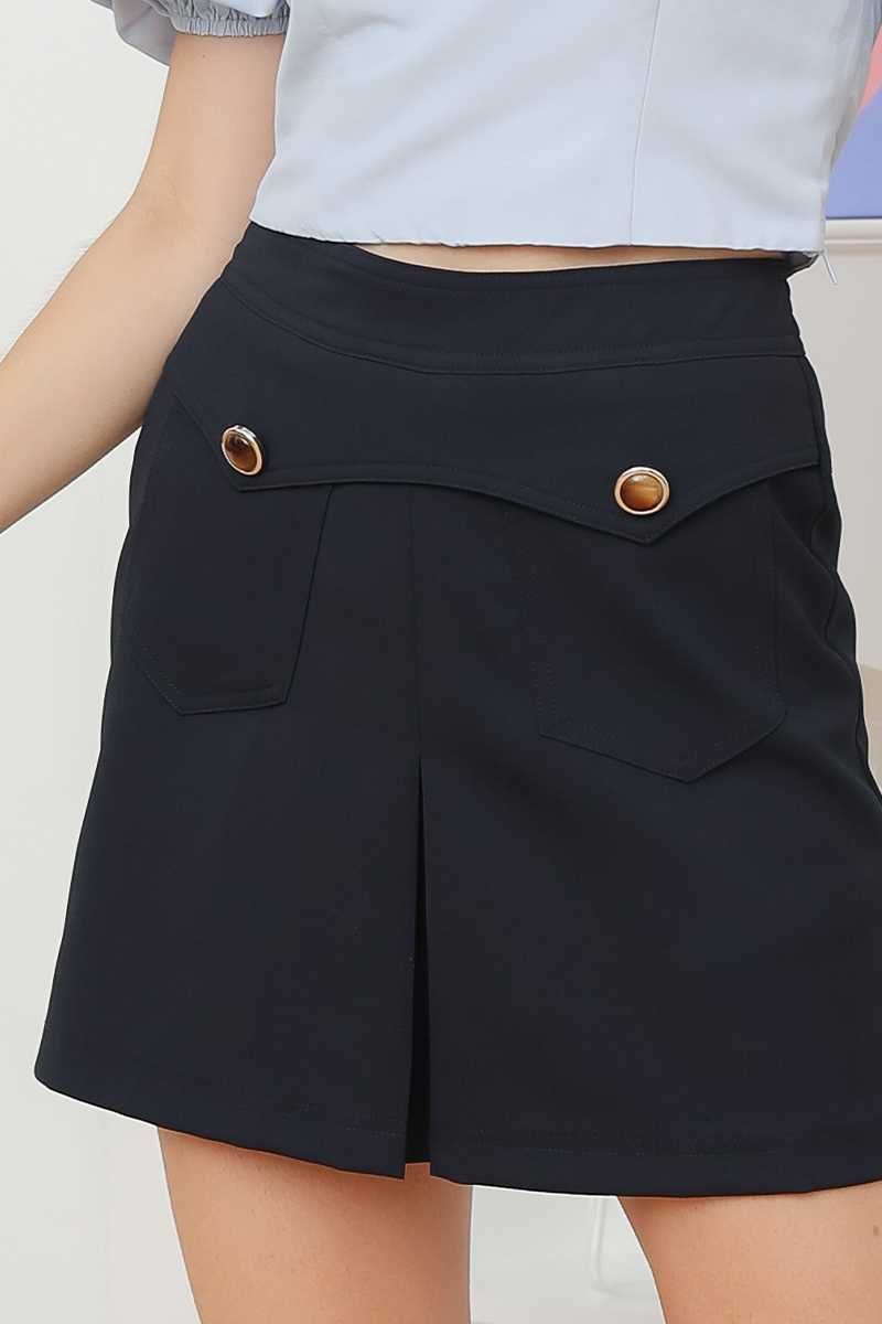 Tianne Front Buttoned Geometric Skirt Midnight