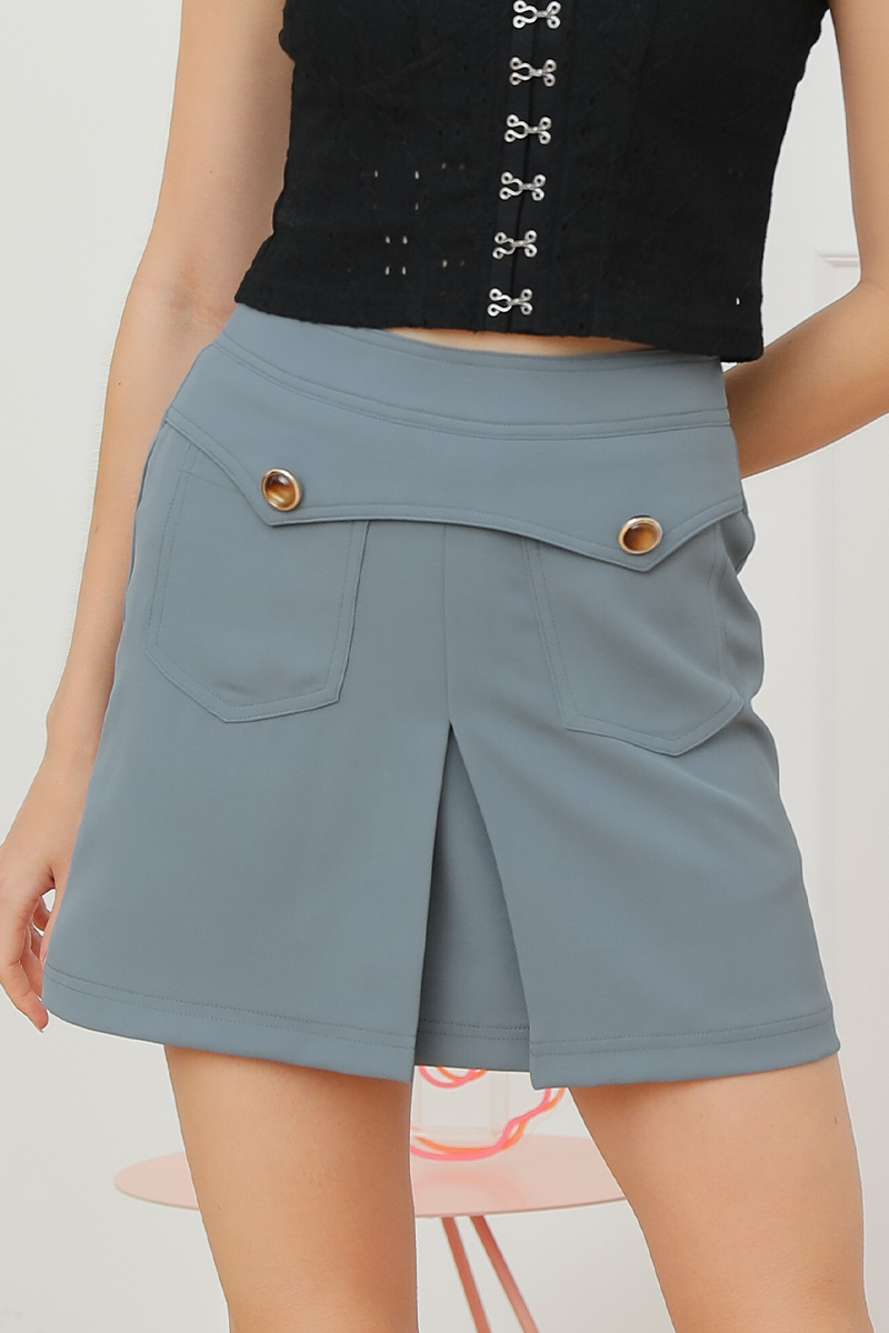 Tianne Front Buttoned Geometric Skirt Steel