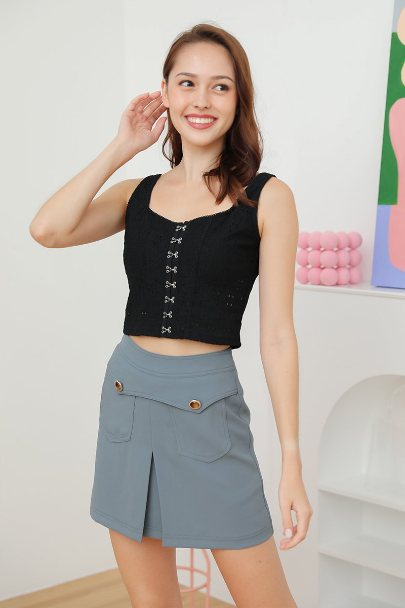Leanne Embroidered Clasp Front Top Black