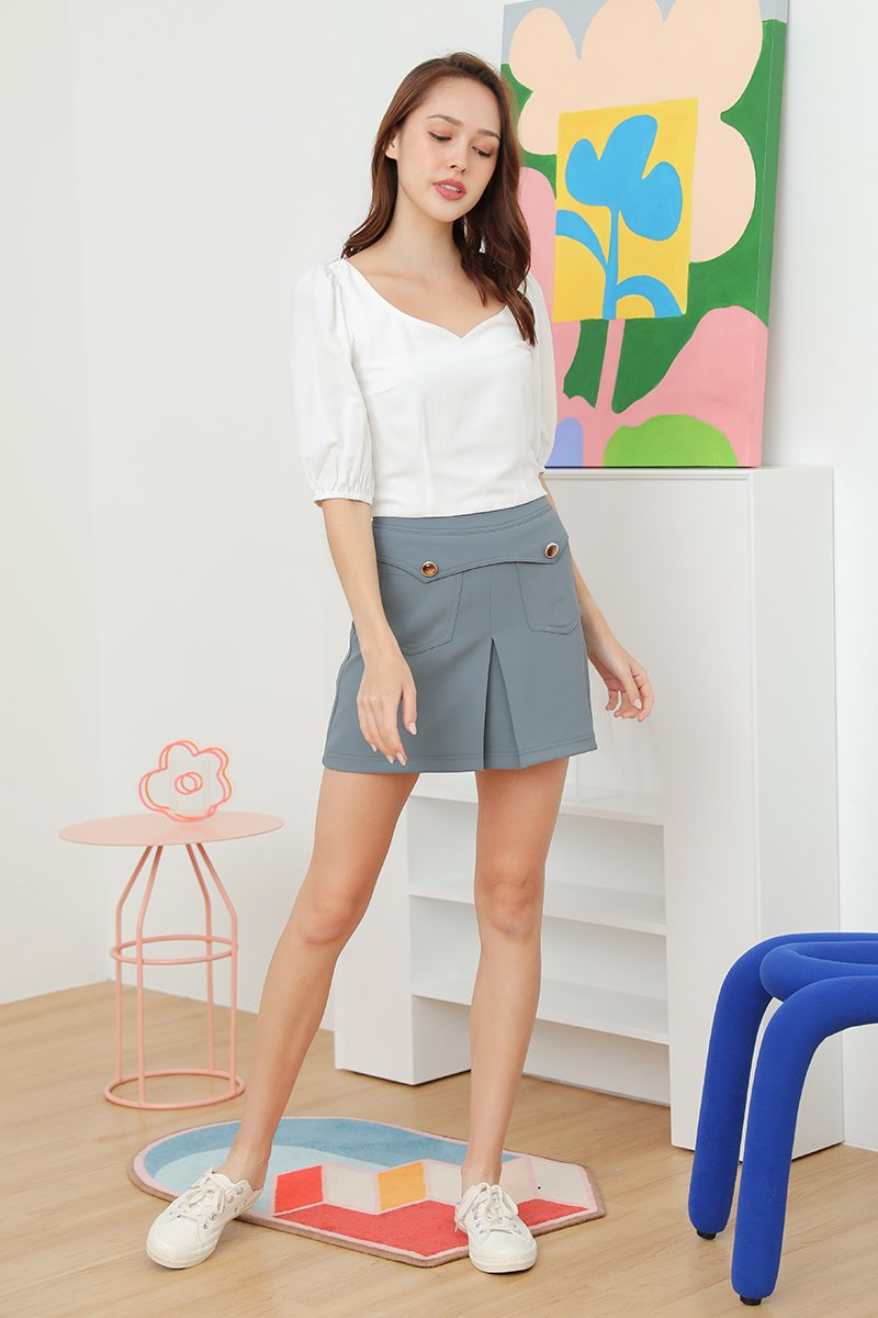 Theana Puff Sleeve Tie Back Top Ivory