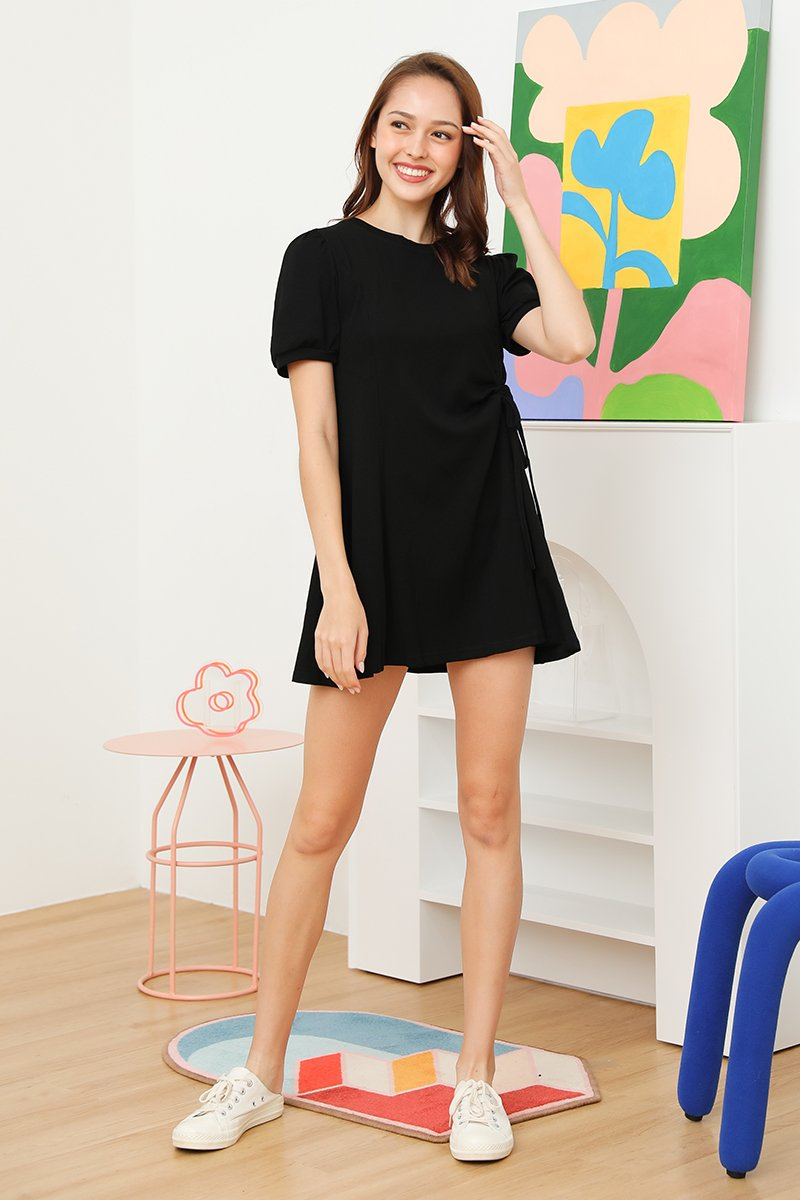 Roxie Side Ruched Swing Dress Black