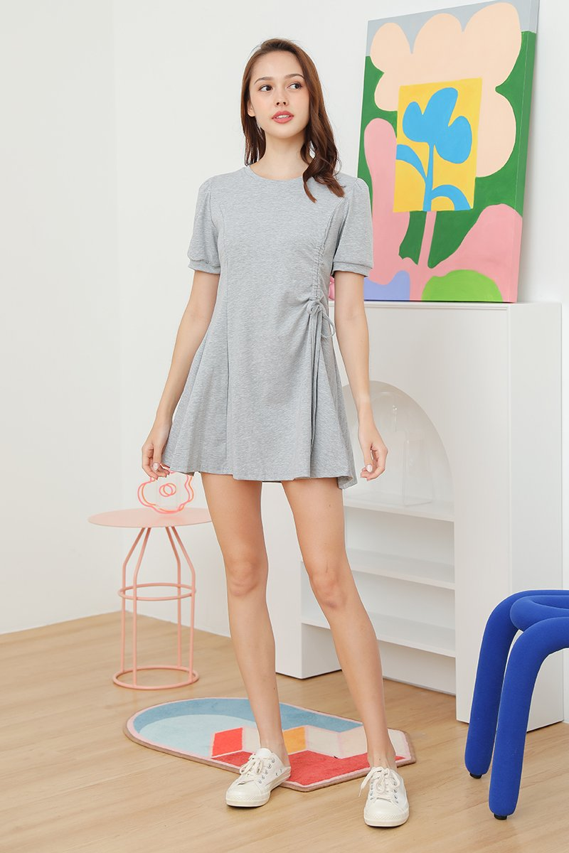 Roxie Side Ruched Swing Dress Grey